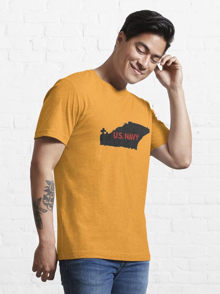 Alternate view of U.S. Navy - Aircraft Carrier - Orange Text Essential T-Shirt