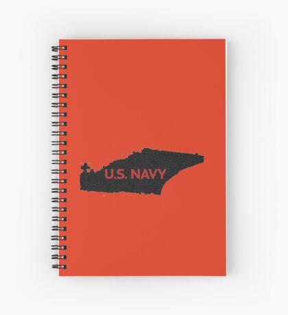 U.S. Navy - Aircraft Carrier - Orange Text Spiral Notebook