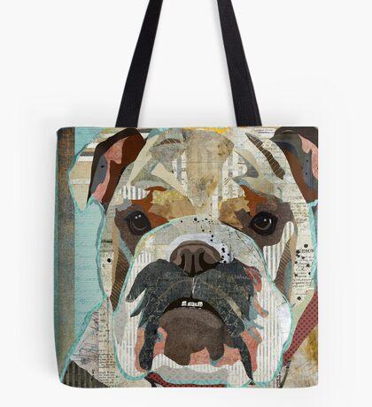 English Bulldog Portrait Colorful Collage Art  Tote Bag