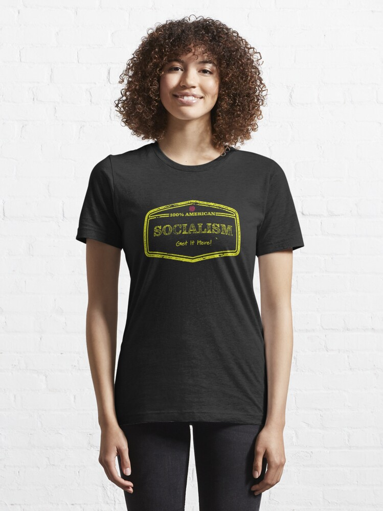 Alternate view of 100% American Socialism - Yellow Text Essential T-Shirt