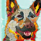 German Shepherd Dog Portrait Colorful Collage Art  by traciwithani