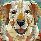 Golden Retriever Dog Portrait Colorful Collage Art  by traciwithani