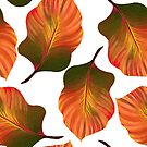 Tropical Leaves in Orange by tanyadraws