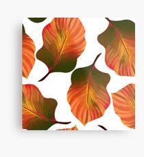 Tropical Leaves in Orange Metal Print