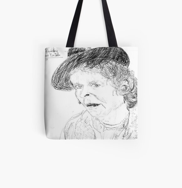 Maggie Hambling on YouTube -(260711)- Biro pen/black ink All Over Print Tote Bag