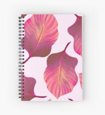 Tropical Leaves Pattern in Pink Spiral Notebook