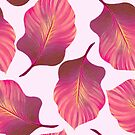 Tropical Leaves Pattern in Pink by tanyadraws