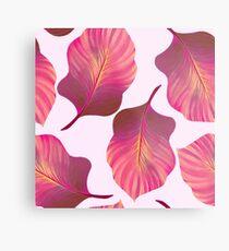 Tropical Leaves Pattern in Pink Metal Print