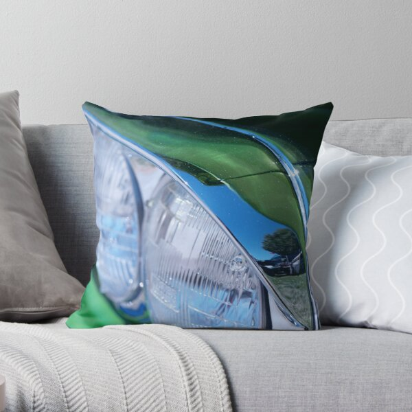 Headlights and Green Throw Pillow