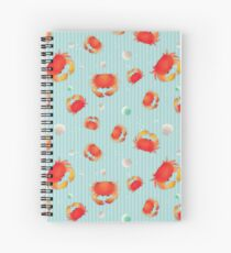 Red Crabs Pattern on Blue Spiral Notebook