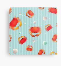 Red Crabs Pattern on Blue Metal Print
