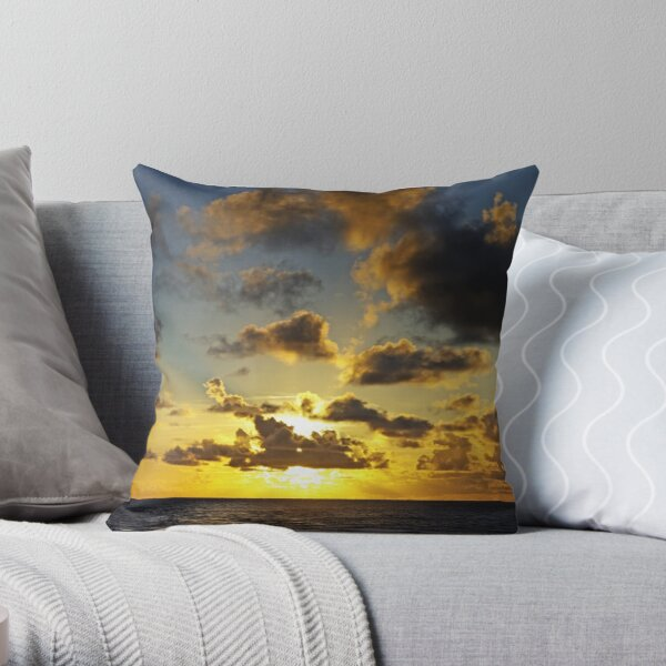 Pacific Blue & Gold Throw Pillow