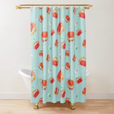 Red Crabs Pattern on Blue Shower Curtain