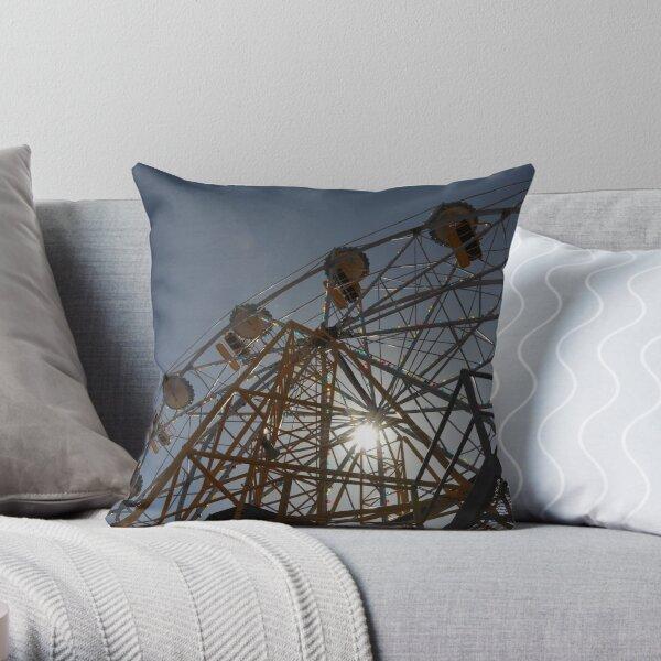 Ferris Wheel with Sun, Luna Park Throw Pillow