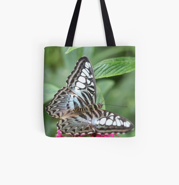 Blue and White Butterfly All Over Print Tote Bag