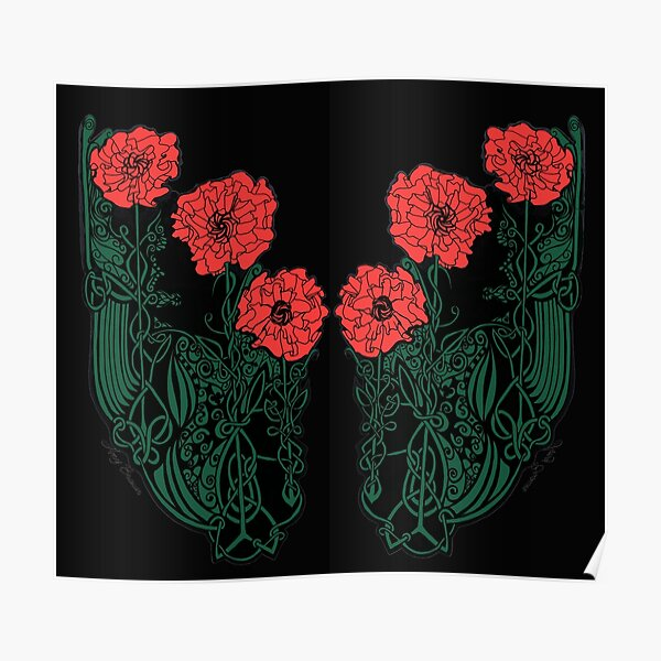 Red and Green Celtic Poppies Poster