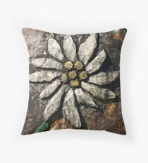 Edelweiss Wood Carving. Throw Pillow