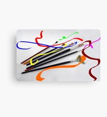 Artist´s brushes and painting Canvas Print
