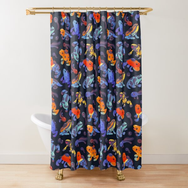 Poison dart frogs - dark Shower Curtain