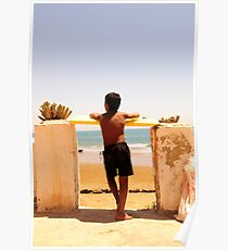 Boy Watching Surf Poster