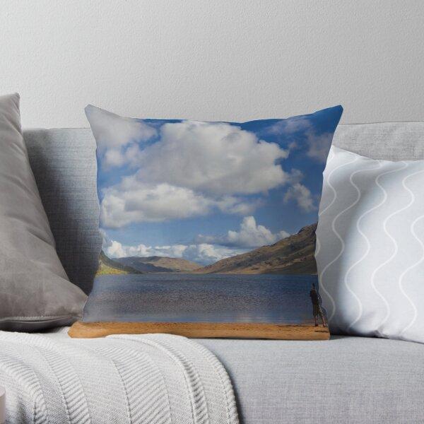 Lone Fisherman at Loch Na Fooey Galway/Mayo Ireland Throw Pillow