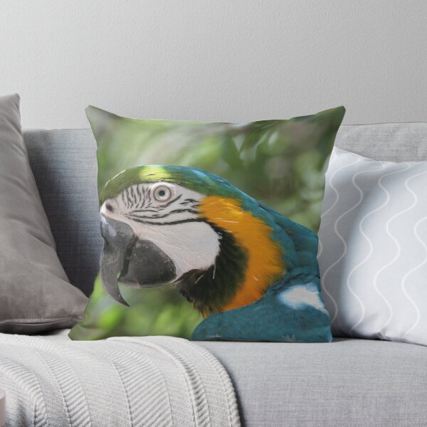 Blue macaw Throw Pillow