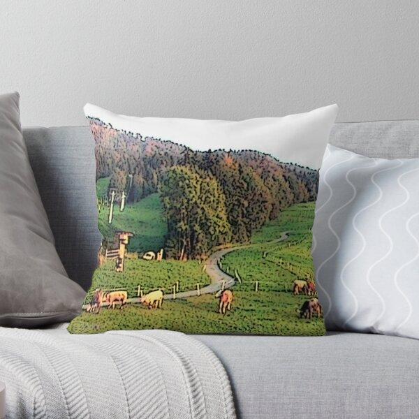 """Grazing In The Alps - Koblach, Austria"" Throw Pillow"