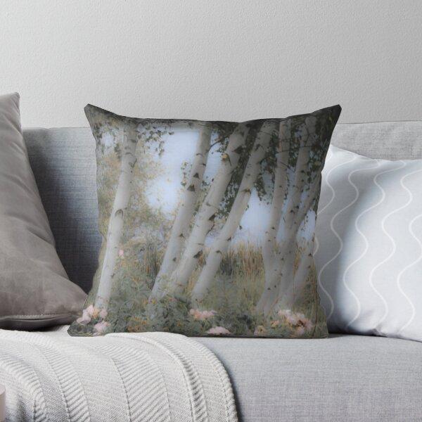 Rose and Birch Throw Pillow