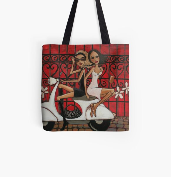 Scooting the Breeze All Over Print Tote Bag