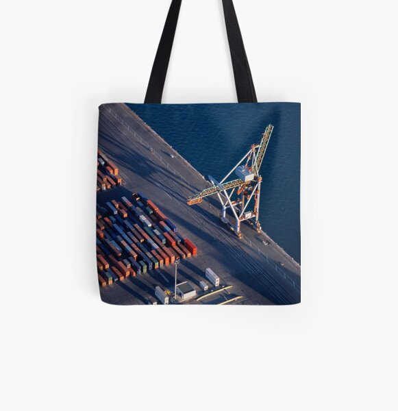 Freight container yard at Marseille Port All Over Print Tote Bag