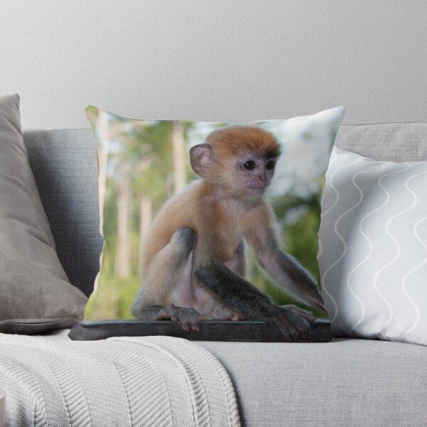 Baby Silver Leaf Monkey Throw Pillow