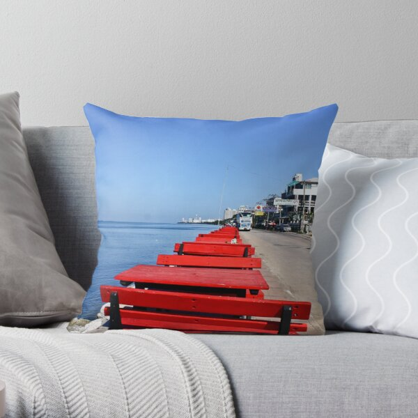 Red Benches By the Beach Throw Pillow