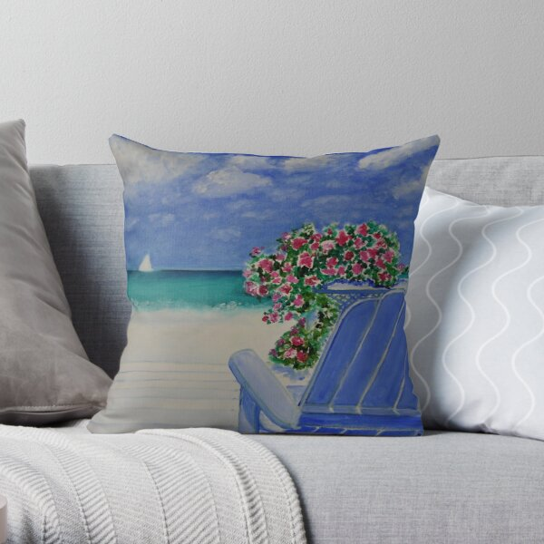 A Seat Beside the Sea Throw Pillow