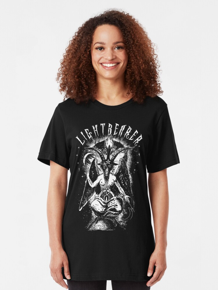 Alternate view of Lightbearer - Lucifer - Baphomet - Eldritch Dreamer - Lovecraftian Cthulhu mythos wear Slim Fit T-Shirt