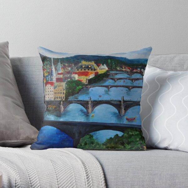 The View over Prague's Five Bridges Throw Pillow