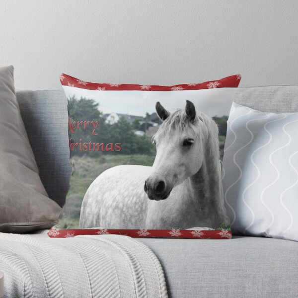 Connemara Pony Christmas Card -Type 2 Throw Pillow