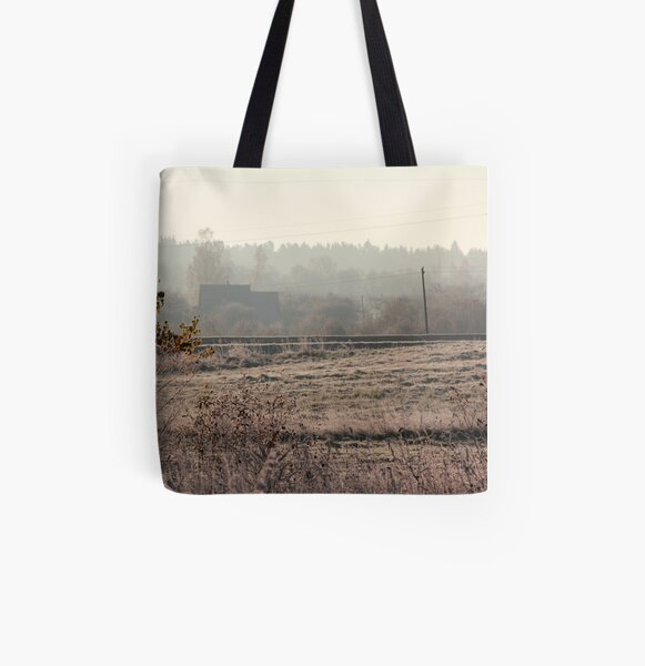 Village in morning mist at autumn time All Over Print Tote Bag