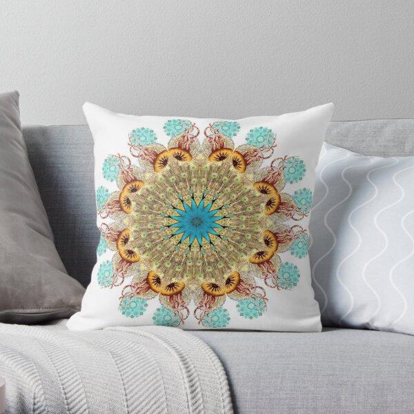 Peacock Jellyfish Mandala Throw Pillow