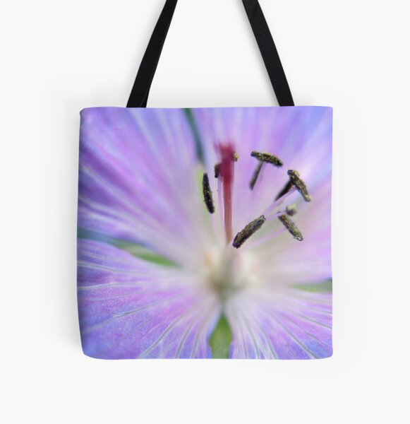 Purple Flower All Over Print Tote Bag