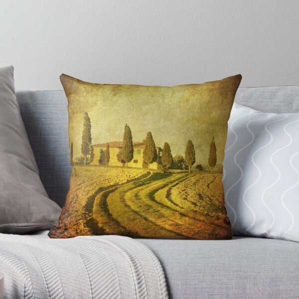 Vintage Tuscan landscape Throw Pillow
