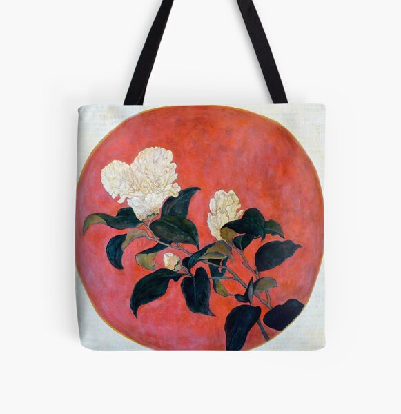 Asian Floral All Over Print Tote Bag