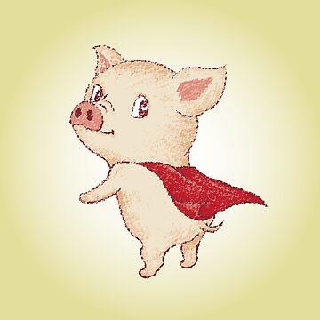 Lindo superhéroe cerdo de sanogawa