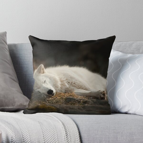 Tranquilty of the Arctic Wolf  Throw Pillow