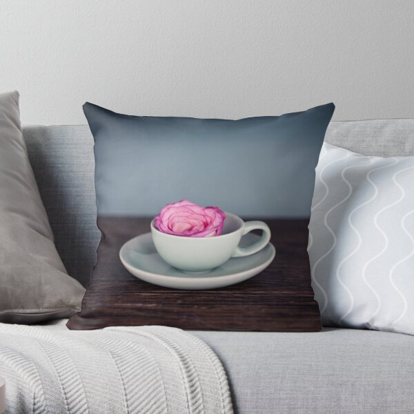 Rose in Tea Cup Throw Pillow