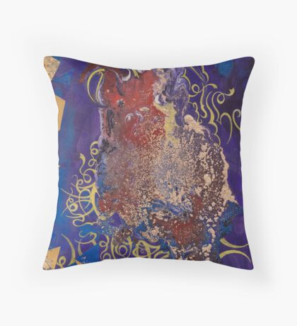 Strawberry-Red Stain Aginst Deep Blue Throw Pillow