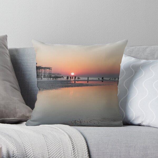 Low Tide on Brighton Beach Throw Pillow
