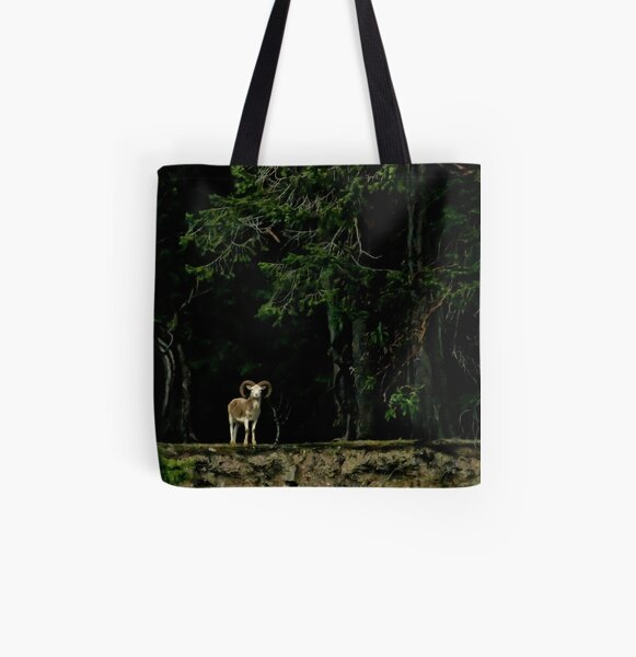 Ram in the Woods All Over Print Tote Bag