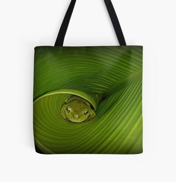 Frog in banana leaf All Over Print Tote Bag