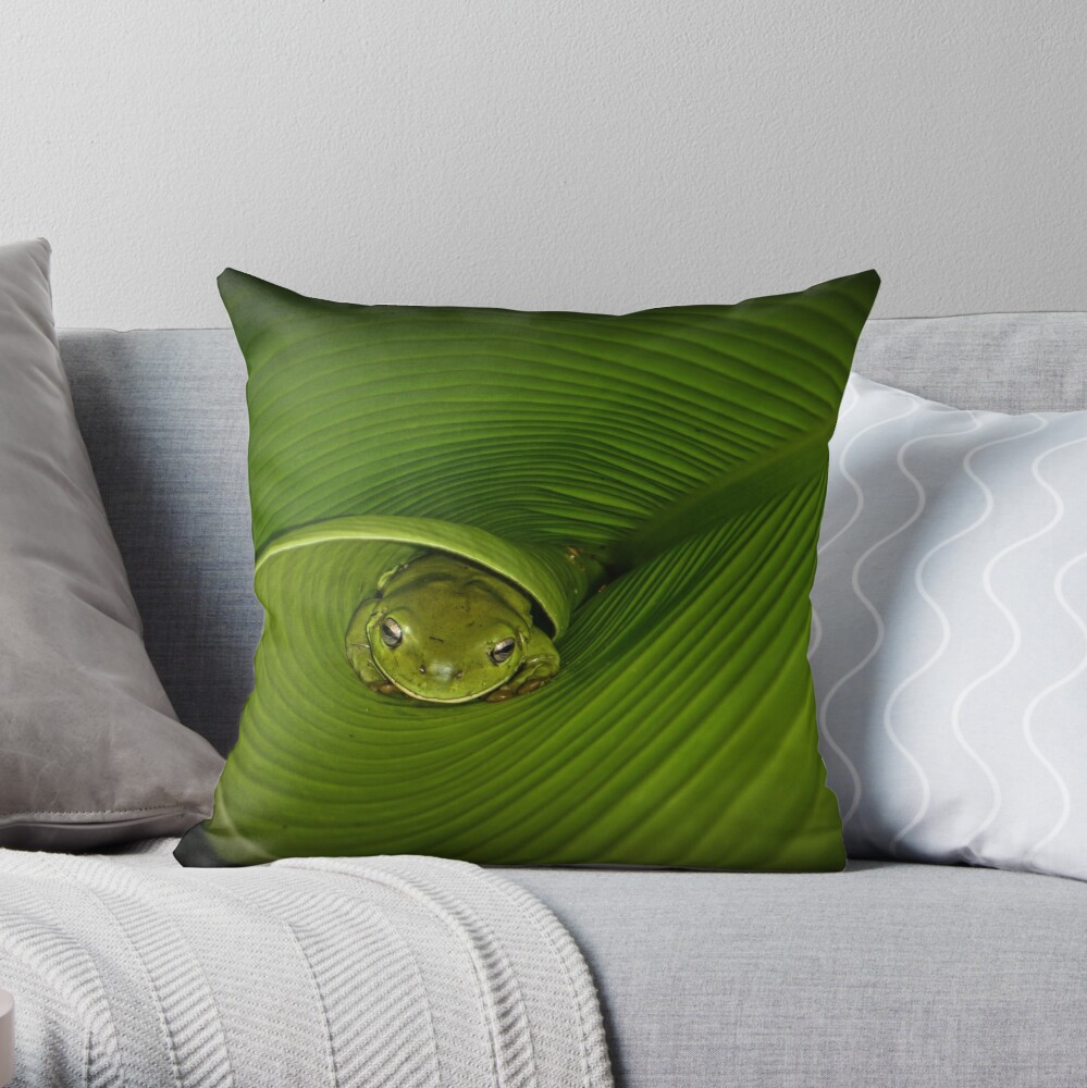 Frog in banana leaf Throw Pillow