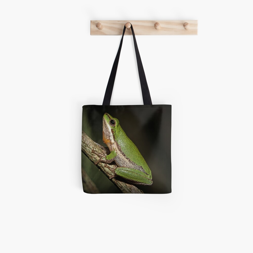 Frog on Branch Tote Bag